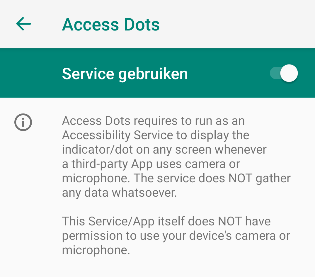 Access Dots privacy