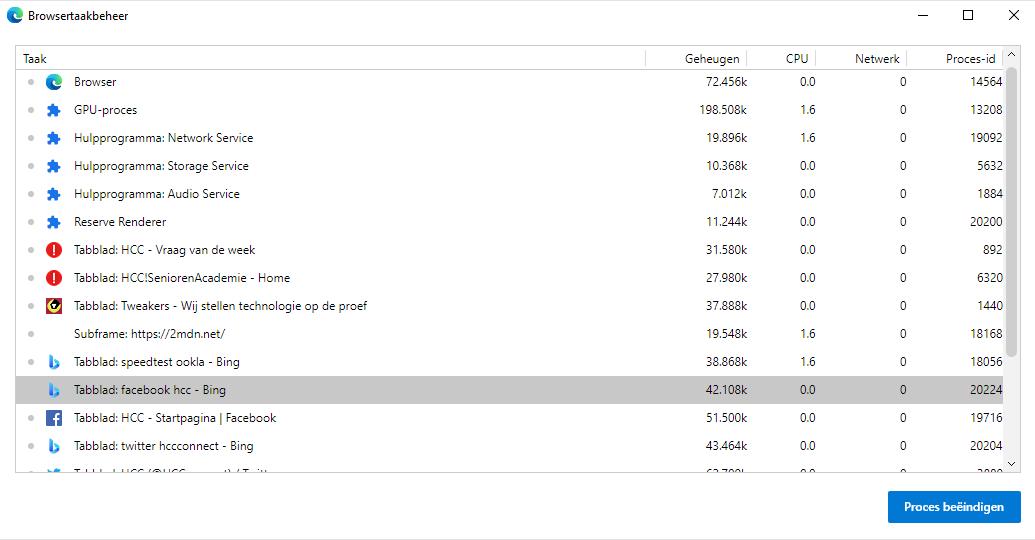 Browsertaakbeheer Edge 2