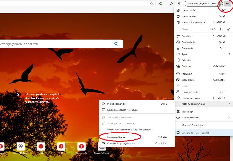Browsertaakbeheer Edge kl3