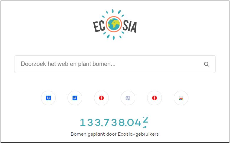 Ecosia zoekpagina