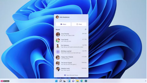 Knipsel Teams in Windows 11 kl