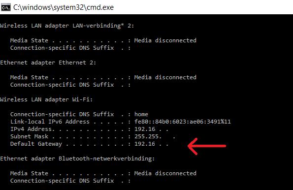Windows ip adres