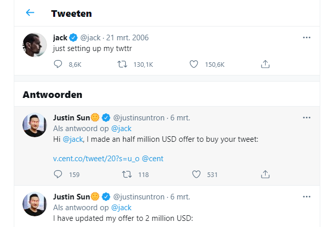 eerste Tweet Jack Dorsey