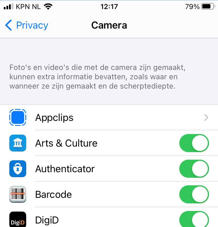 ios apps toegang cam 2